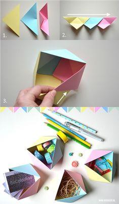 Geometrisch origami doosje vouwen   Moodkids