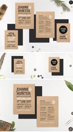Typographic Wedding Invitation Set - Marie Ockleford Designs - rustic cool unisex kraft block type invite kit