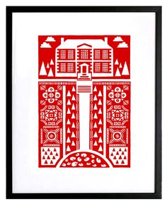 Manor Garden silkscreen print - bright red | Mengsel