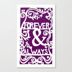 Forever & Always - Purple Stretched Canvas by Rachel Winkelman - $85.00