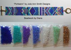 Portwenn by Julie Ann Smith Designs beaded bracelet kit (pattern sold separately) Bead Loom Bracelets, Beaded Bracelet Patterns, Bead Loom Patterns, Peyote Patterns, Beading Patterns, Beaded Jewelry, Julie Ann, Brick Stitch, Pom Poms