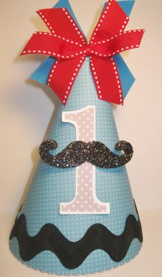 Personalized Boys Little Man Mustache Birthday Party Hat