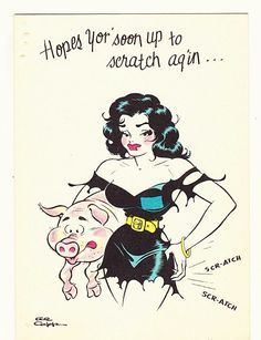 little abner cartoon characters | Vintage 1940s -1950s Little Abner Cartoon Character Get Well Greeting ...