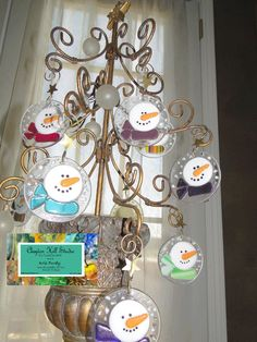Fused Glass Snowman Ornament. These are cute!