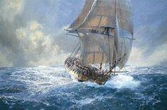 Sailboat Art, Nautical Art, Nautical Painting, Old Sailing Ships, Man Of War, Ship Paintings, Boat Painting, Wooden Ship, Sea Art