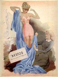 """Kestos, dessous exquis de l'élégante / Réclame parue dans """"Réalités"""" de décembre 1950"""