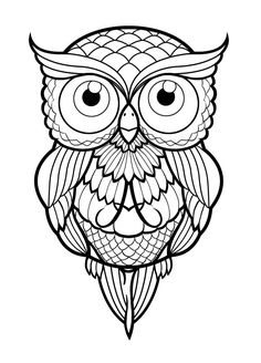 40 simple owl stencil tattoo design - Coloring Page Owl