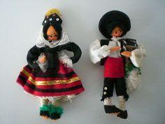 Spanish dolls Couple Man Woman Senor Senorita 7 inches tall Vintage