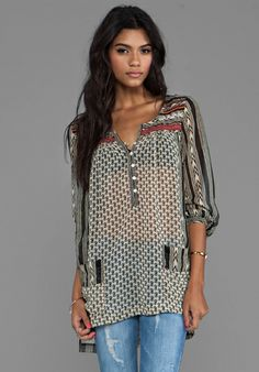 Free People Feather in the Wind Top in Tea Combo