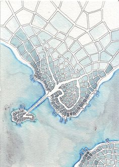 Cyan Island (urban space # Source by kalyndastone Watercolor Architecture, Architecture Panel, Watercolor Quilt, Watercolor Landscape, Tourist Map, Map Design, Science Art, Art Pages, Plans
