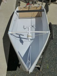 out to build a coroplast boat. (coroplast = plastic cardboard)… – Now YOU Can Build Your Dream Boat With Over 500 Boat Plans! Wooden Boat Kits, Wooden Boat Building, Boat Building Plans, Wooden Boats, Make A Boat, Build Your Own Boat, Diy Boat, Kayaks, Simple Boat