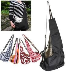 3 Size SML Black Oxford Cloth Sling Pet Dog Cat Carrier Tote Single Shoulder Bag