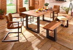 Details: 3,5 cm starke Tischplatte, In verschiedenen Größen, rechteckige Tischplatte, Das Holz ist geölt, Gestell aus Eisen, lackiert,  Maße:  (B/T/H) ca. 180/90/77, (B/T/H) ca. 200/100/77, 77 cm Tischhöhe, 3,5 cm starke Tischplatte, Alles ca.-Maße,  Informationen zu Lieferumfang und Montage:  Selbstmontage mit Aufbauanleitung, Montagematerial inklusive,  Material:  Massivholz: Akazie, Gestell ...