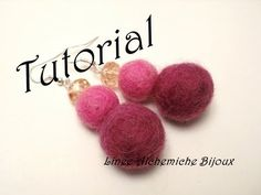 felt ball earrings, felt jewelry, felt jewels, how to make felt