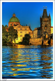 Franciscus of Assisi church and Old Town tower of the Charles bridge Most Beautiful Cities, Beautiful Buildings, Wonderful Places, Places Around The World, Around The Worlds, Visit Prague, Prague Czech Republic, Dream City, Old Town