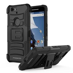 MoKo Nexus 6P Case - [Heavy Duty] Full Body Rugged Holster Cover with Swivel Belt Clip - Dual Layer Shock Resistant for Huawei Google Nexus 6P 5.7 Inch Smartphone 2015, BLACK MoKo