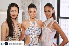 @kendalljenner in #Versace #proudmama #metgala #repost @esteelauder  Our three #EsteeBeauties before hitting the #MetGala red carpet. #krisjenner #krisisms
