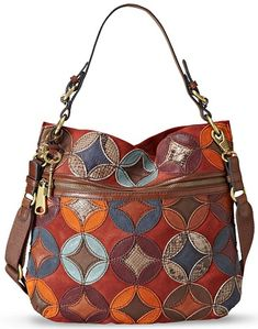 Fossil Handbag, Explorer Patchwork Hobo - Fossil - Handbags & Accessories - Macy's - expensive handbags for women, purses handbags totes, handbags branded sale Fossil Handbags, Hobo Handbags, Purses And Handbags, Fossil Purses, Prada Handbags, Hobo Purses, Coach Purses, Coach Bags, Sacs Design