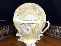 Unique Aynsley Rose Tea Cup and Saucer, Fine Bone China Teacup Made in England  1632
