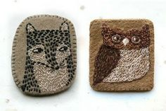 Fox and Owl brooches by Mariet Vosloo