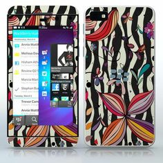 Summer Time  Black and white stripes with colorful flowers  phone skin sticker for Cell Phones / Blackberry Z10 | $7.95
