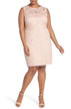 Free shipping and returns on Ellen Tracy Sleeveless Lace Sheath Dress (Plus Size) at Nordstrom.com. A perfect choice for summer celebrations, a sophisticated sheath exudes iconic romance in corded lace with lush rose blossoms. A peekaboo-sheer yoke and V-neckline back bare just the right amount of skin.