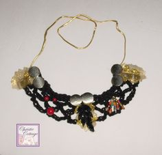 Bohemian Style Bib Necklace - Black - Gold - Beaded - Made in America.