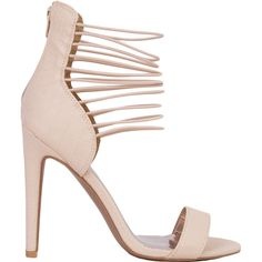 Strappy Ankle Strap Open Toe Nude Heeled Sandals ($15) ❤ liked on Polyvore