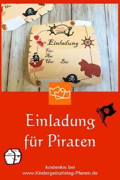 Einladung für einen Piraten-Geburtstag - kostenlos! Einfach ausfüllen, ausdrucken, fertig!
