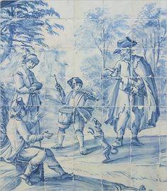 Músicos, Cena Campestre, pormenor de painel azulejos, séc. XVIII, Mosteiro de São Vicente de Fora, Lisboa.