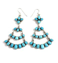 Sterling Silver Navajo Sleeping Beauty Turquoise Earrings #SterlingSilverEarrings