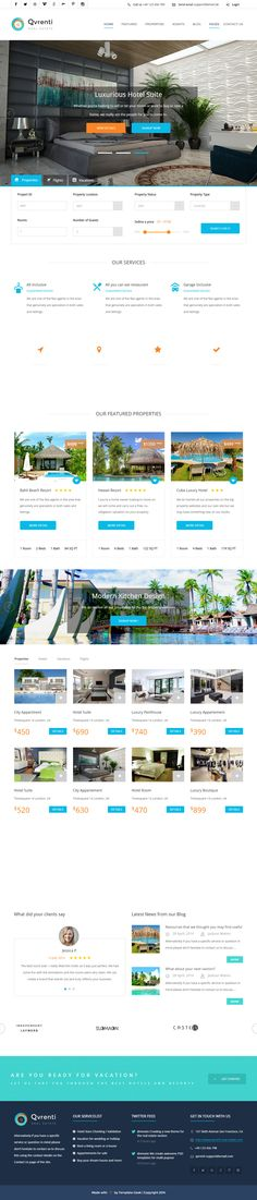 Qvrenti is Premium full Responsive Retina #HTML5 #RealEstate Template. Bootstrap 3 Framework. #ParallaxScrolling. Google Map. Test free demo at: http://www.responsivemiracle.com/cms/qvrenti-premium-responsive-real-estate-html5-template/