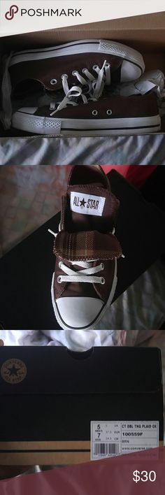 Converse plaid casual shoes Brown Converse shoes Converse Shoes Sneakers