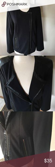 NYDJ ,NWOT , Jacket Size XL (14-16) Model RN#132016 . Fabulous slimming jacket,black with faux leather detailing. NYDJ Jackets & Coats