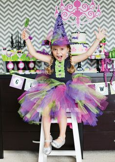 Cute (pink, purple & green) girls witch costume for Halloween!