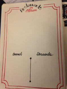 Bullet journal menu restaurant tracker