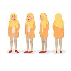 Set Character Design Turn Around Young Woman Wearing Casual Hijab Vector Illustration Caracter flat design Vectors, Photos and PSD files Hijab Casual, Hijab Chic, Character Flat Design, Funny Comic Strips, Art Prompts, Funny Comics, Disney Pixar, Young Women, Line Art