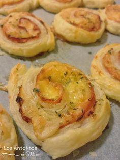 Espirales de hojaldre de jamón y queso - Los Antojitos de María