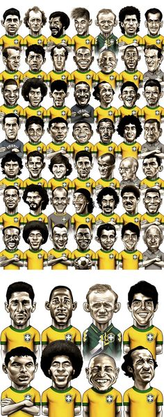 La Seleccion brasilera festeja sus 100 años y GloboEsporte.com selecciono 44 jugadores y 4 tecnicos que hicieron historia. /   Caricatures of greatest players and coaches of Brazil national football team.
