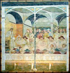 Ambrogio Lorenzetti ~ Paus Bonifatius VIII ontvangt de heilige Lodewijk van Toulouse als novice ~ ca. 1324-1327 ~ Fresco ~ San Francesco, Siena