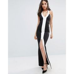 City Goddess Monochrome Maxi Dress With Split Detail (£42) ❤ liked on Polyvore featuring dresses, black, tall maxi dresses, halter maxi dress, halter neck maxi dress, plunge maxi dress and maxi dresses