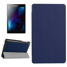 For+Lenovo+Tab+2+Dark+Blue+Texture+Coffee+Flip+Leather+Case+with+3+Folding+Holder