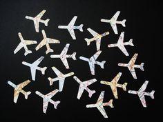 50  Large Map Atlas Airplane die cuts punch by BelowBlink on Etsy, $4.00