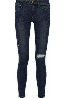 Frame Denim Le Skinny De Jeanne distressed mid-rise skinny jeans | NET-A-PORTER