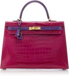 3b7c5a5b7ffa Hermes Vintage by Heritage Auctions 35cm Rose Scheherazade And Violet Shiny  Porosus Crocodile Kelly Bag - ShopStyle