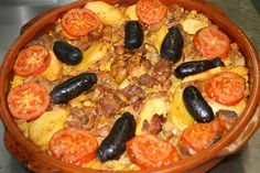 Arroz al Horno (baked rice). This is a typical dish from Valencia and is baked in the oven, as indicated by the name itself. Unlike paella, baked rice is prepared in a clay pot. Arroz al Horno is humble in its origins, made using leftover stew, which is why the ingredients include chickpeas, pork ribs and morcilla sausage.  This is a healthy, Mediterranean and a simple dish to prepare. And it's not paella!