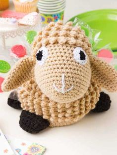 Crochet - Special Stitches & Techniques Patterns - Cluster, Shell, Popcorn & Puff - Lollipop Lamb