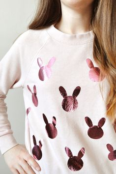 Make your own metallic pink bunny sweater for Easter with this style DIY tutorial.