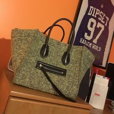 Felt/Wool Green Celine Bag... Org $2800 Worn maybe 3 times. Still has the blue stickers covering the bottom hardware. Pretty sure I have the receipt somewhere. Feel free to inquire. This was bought straight from Barneys and is a straight steal! And the inside is spotless! Celine Bags Totes