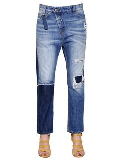 VIVIENNE WESTWOOD ANGLOMANIA - NEW BOYFRIEND COTTON DENIM JEANS - LUISAVIAROMA - LUXURY SHOPPING WORLDWIDE SHIPPING - FLORENCE